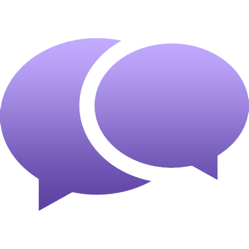 purple follow up chat bubbles icon